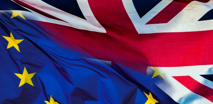 A merged image of the Union jack flag and European Union flag
